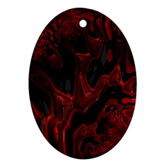 Fractal Red Black Glossy Pattern Decorative Oval Ornament (two Sides)