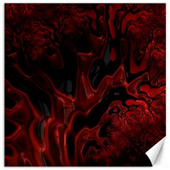 Fractal Red Black Glossy Pattern Decorative Canvas 16  X 16