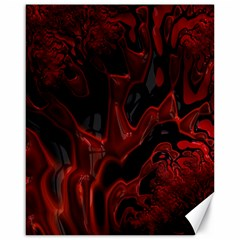 Fractal Red Black Glossy Pattern Decorative Canvas 16  X 20
