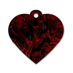 Fractal Red Black Glossy Pattern Decorative Dog Tag Heart (one Side)