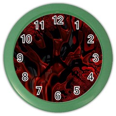 Fractal Red Black Glossy Pattern Decorative Color Wall Clocks