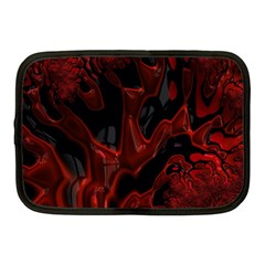 Fractal Red Black Glossy Pattern Decorative Netbook Case (medium)