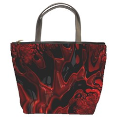 Fractal Red Black Glossy Pattern Decorative Bucket Bags