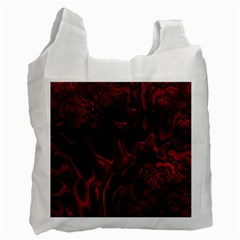 Fractal Red Black Glossy Pattern Decorative Recycle Bag (two Side)