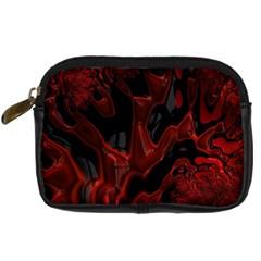Fractal Red Black Glossy Pattern Decorative Digital Camera Cases
