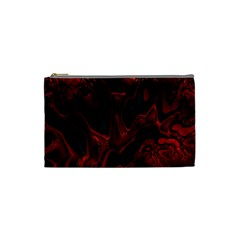 Fractal Red Black Glossy Pattern Decorative Cosmetic Bag (small)