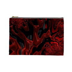Fractal Red Black Glossy Pattern Decorative Cosmetic Bag (large)