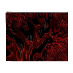 Fractal Red Black Glossy Pattern Decorative Cosmetic Bag (xl)