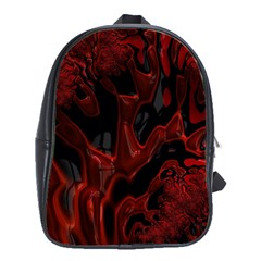 Fractal Red Black Glossy Pattern Decorative School Bags(large)
