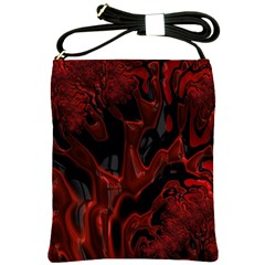 Fractal Red Black Glossy Pattern Decorative Shoulder Sling Bags
