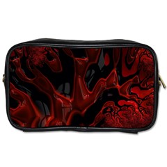 Fractal Red Black Glossy Pattern Decorative Toiletries Bags 2 Side