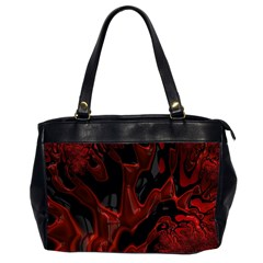 Fractal Red Black Glossy Pattern Decorative Office Handbags (2 Sides)