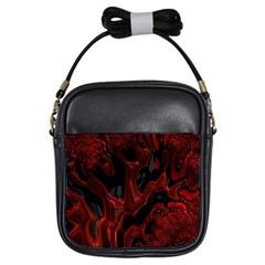 Fractal Red Black Glossy Pattern Decorative Girls Sling Bags
