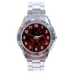 Fractal Red Black Glossy Pattern Decorative Stainless Steel Analogue Watch