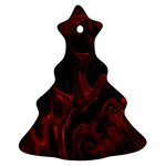 Fractal Red Black Glossy Pattern Decorative Ornament (Christmas Tree)  Front