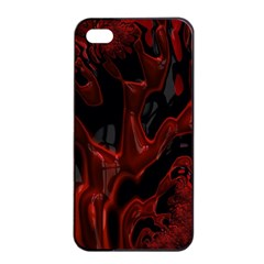 Fractal Red Black Glossy Pattern Decorative Apple Iphone 4/4s Seamless Case (black)