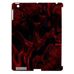 Fractal Red Black Glossy Pattern Decorative Apple Ipad 3/4 Hardshell Case (compatible With Smart Cover)