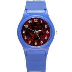 Fractal Red Black Glossy Pattern Decorative Round Plastic Sport Watch (s)