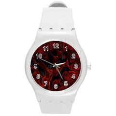 Fractal Red Black Glossy Pattern Decorative Round Plastic Sport Watch (m)