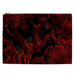 Fractal Red Black Glossy Pattern Decorative Cosmetic Bag (xxl)