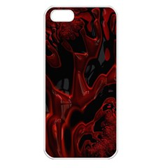 Fractal Red Black Glossy Pattern Decorative Apple Iphone 5 Seamless Case (white)