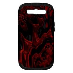 Fractal Red Black Glossy Pattern Decorative Samsung Galaxy S Iii Hardshell Case (pc+silicone)