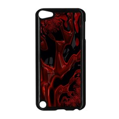 Fractal Red Black Glossy Pattern Decorative Apple Ipod Touch 5 Case (black)