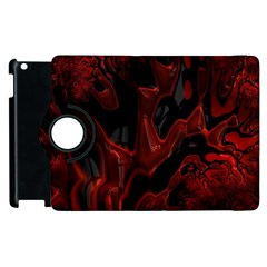 Fractal Red Black Glossy Pattern Decorative Apple Ipad 2 Flip 360 Case