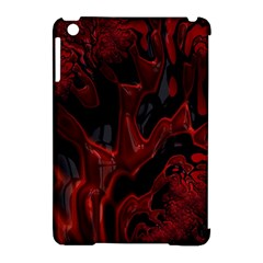 Fractal Red Black Glossy Pattern Decorative Apple Ipad Mini Hardshell Case (compatible With Smart Cover)