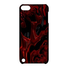 Fractal Red Black Glossy Pattern Decorative Apple Ipod Touch 5 Hardshell Case With Stand
