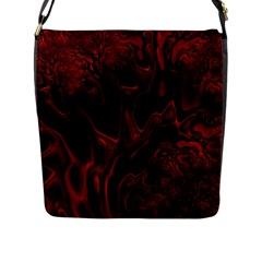 Fractal Red Black Glossy Pattern Decorative Flap Messenger Bag (l)