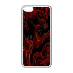 Fractal Red Black Glossy Pattern Decorative Apple Iphone 5c Seamless Case (white)