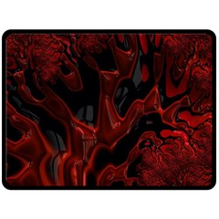 Fractal Red Black Glossy Pattern Decorative Double Sided Fleece Blanket (large)