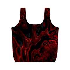 Fractal Red Black Glossy Pattern Decorative Full Print Recycle Bags (m)