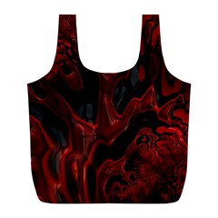 Fractal Red Black Glossy Pattern Decorative Full Print Recycle Bags (l)