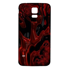 Fractal Red Black Glossy Pattern Decorative Samsung Galaxy S5 Back Case (white)