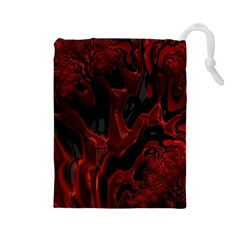 Fractal Red Black Glossy Pattern Decorative Drawstring Pouches (large)