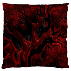 Fractal Red Black Glossy Pattern Decorative Large Flano Cushion Case (one Side)