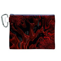 Fractal Red Black Glossy Pattern Decorative Canvas Cosmetic Bag (xl)