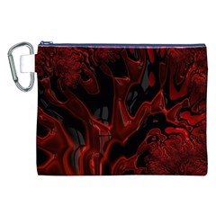 Fractal Red Black Glossy Pattern Decorative Canvas Cosmetic Bag (xxl)