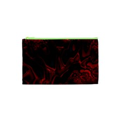 Fractal Red Black Glossy Pattern Decorative Cosmetic Bag (xs)