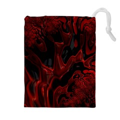 Fractal Red Black Glossy Pattern Decorative Drawstring Pouches (extra Large)