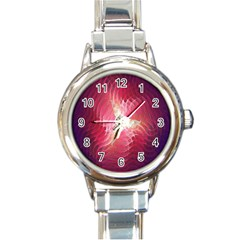Fractal Red Sample Abstract Pattern Background Round Italian Charm Watch