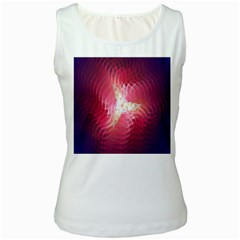 Fractal Red Sample Abstract Pattern Background Women s White Tank Top