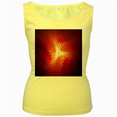 Fractal Red Sample Abstract Pattern Background Women s Yellow Tank Top