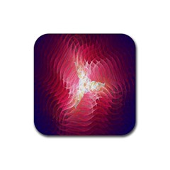 Fractal Red Sample Abstract Pattern Background Rubber Square Coaster (4 Pack)