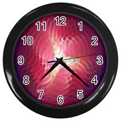 Fractal Red Sample Abstract Pattern Background Wall Clocks (black)