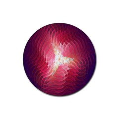 Fractal Red Sample Abstract Pattern Background Rubber Round Coaster (4 Pack)