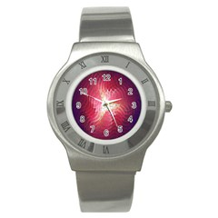 Fractal Red Sample Abstract Pattern Background Stainless Steel Watch