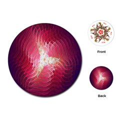 Fractal Red Sample Abstract Pattern Background Playing Cards (Round)